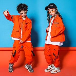 Image 1 - Caz Kostümleri Turuncu Takım Uzun Kollu Ceket Pantolon Erkek Sokak Dans Elbise Hip Hop Dans Seti Sahne Giyim Çocuklar
