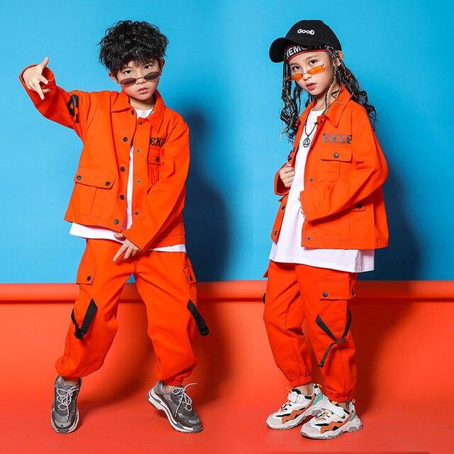 Caz Kostümleri Turuncu Takım Uzun Kollu Ceket Pantolon Erkek Sokak Dans Elbise Hip Hop Dans Seti Sahne Giyim Çocuklar