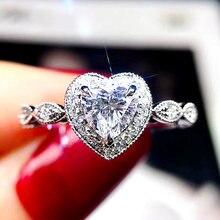 Huitan Brilliant Heart Cubic Zirconia Women Finger-rings Romantic Anniversary Love Gift High-quality Statement Jewelry Wholesale