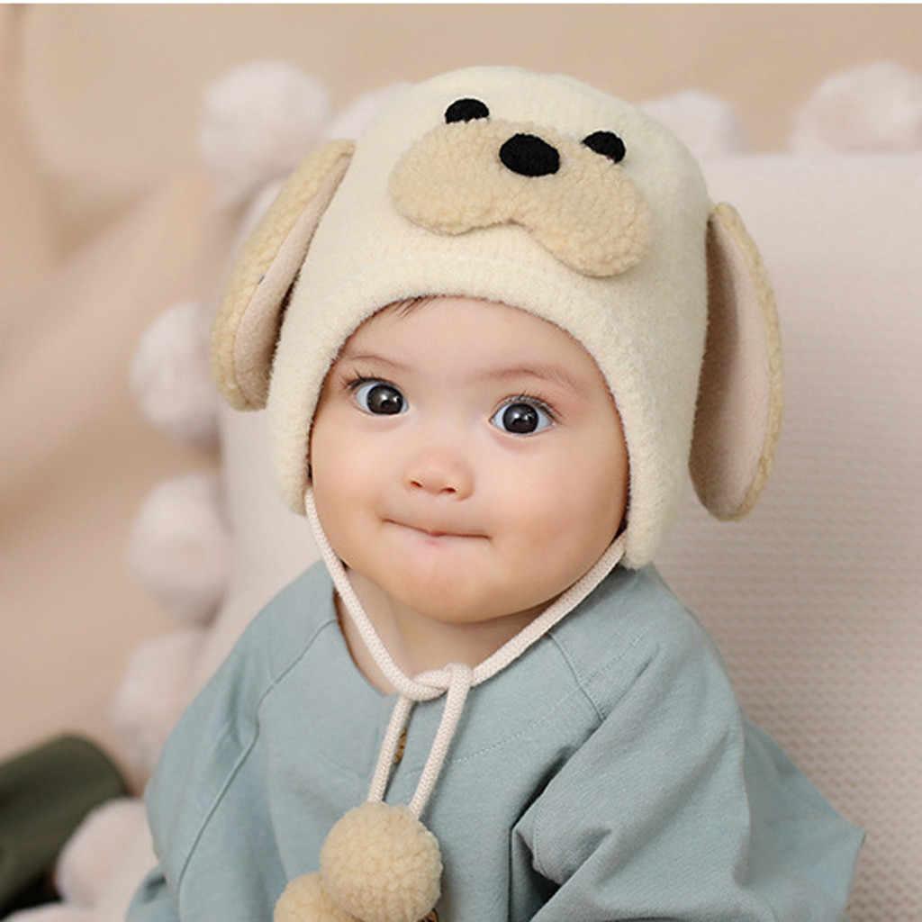 ใหม่มาถึงหมวกเด็กหมวกเด็กหมวกฤดูหนาวสำหรับเด็กอ่อนน่ารักน่ารักสุนัขหู Furry โครเชต์ความยืดหยุ่นหมวกหมวกเด็ก L50599
