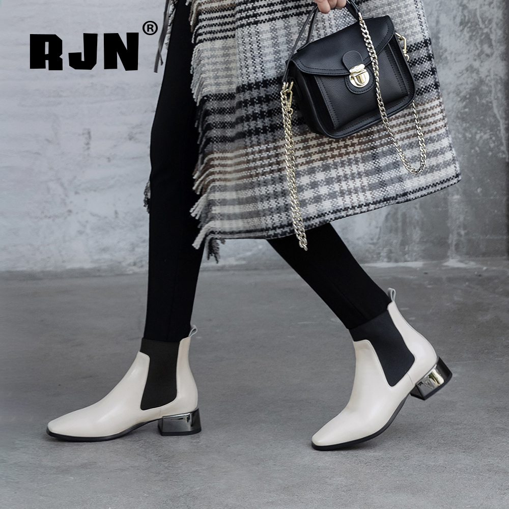 New RJN Stylish Ankle Boots Silver Heel High Quality Genuine Leather Handmade Square Toe Slip-On Shoes Women Chelsea Boots RO23