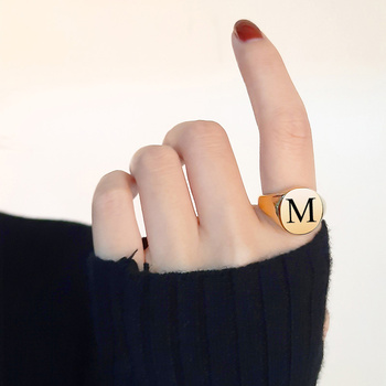 26 Letters Rings For Women Gold Color Stainless Steel Ring Alphabet Letter Initial Round Signet Finger Accessories
