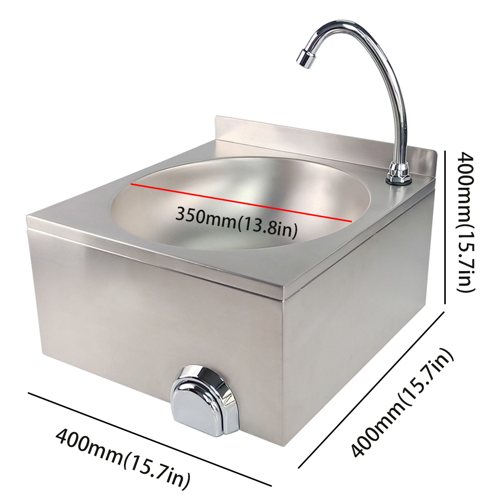 New Brand Stainless Steel Hand Wash Basin Kitchen Catering Vanity Sink Knee Operation Basin