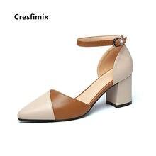 Cresfimix moda feminina doce fivela cinta apontou toe sapatos de salto alto senhoras casuais bombas de couro preto sapatos azuis c5777