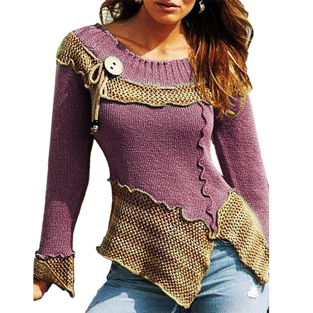 Stylish Bar Plus Size 5XL Winter Asymmetric Buttons Tops Tunic Sweater Women Warm Long Sleeve Knitted Pullover Sweaters Jumper
