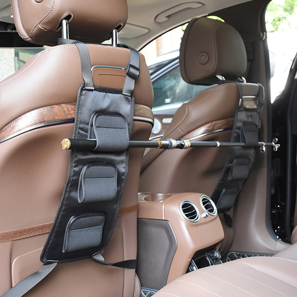 2pcs Booms Fishing VBC Fishing Rod Holder Carrier For Vehicle Backseat Holds 3 Poles Suitable For Car Most Models Fishing Tackle