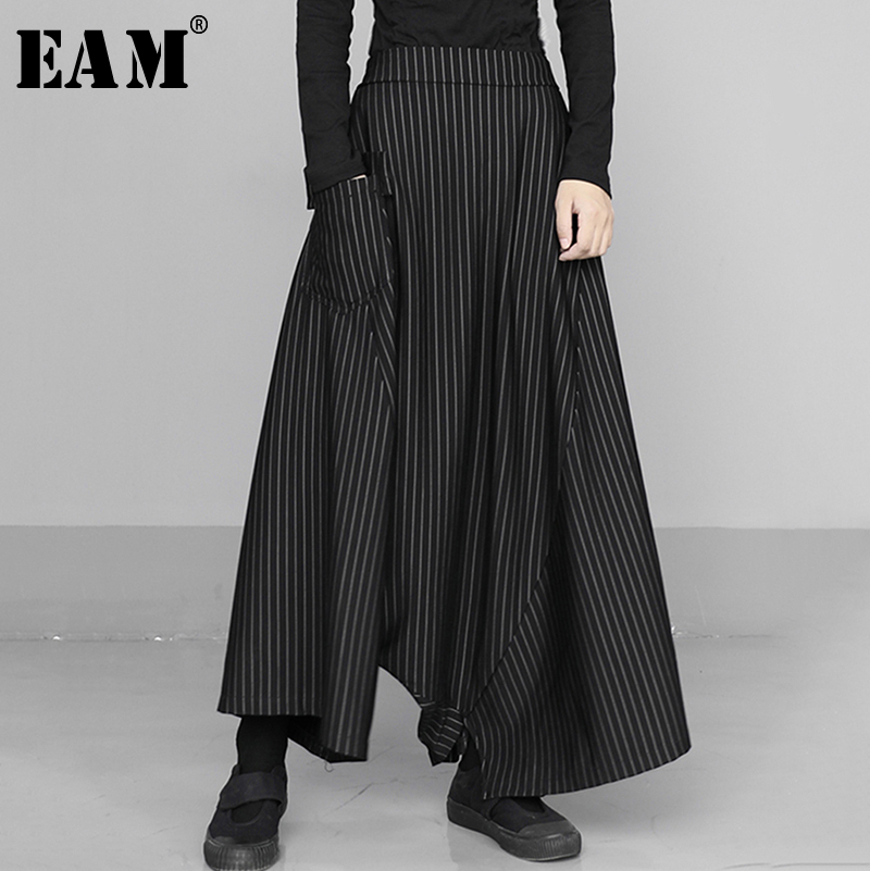 [EAM] High Elastic Waist Black Striped Long Wide Leg Trousers New Loose Fit Pants Women Fashion Tide Spring Autumn 2020 1S433