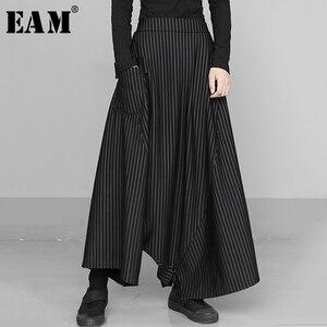 [EAM] High Elastic Waist Black Striped Long Wide Leg Trousers New Loose Fit Pants Women Fashion Tide Spring Autumn 2020 1S433