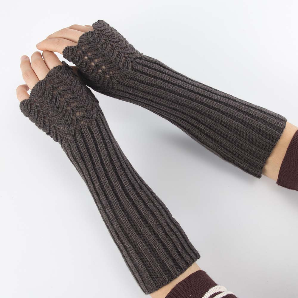 1 Pair Fashion Autumn Winter Warm Women Men Gloves Solid Color Arm Warmer Long Gloves Soft Fingerless Knitting Mittens