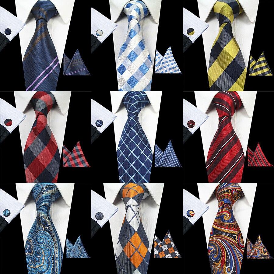 GUSLESON New Fashion Floral Tie Men's 8cm Silk Necktie Set Blue Green Purple Yellow Red Wedding Solid Tie Hanky Cufflinks Set