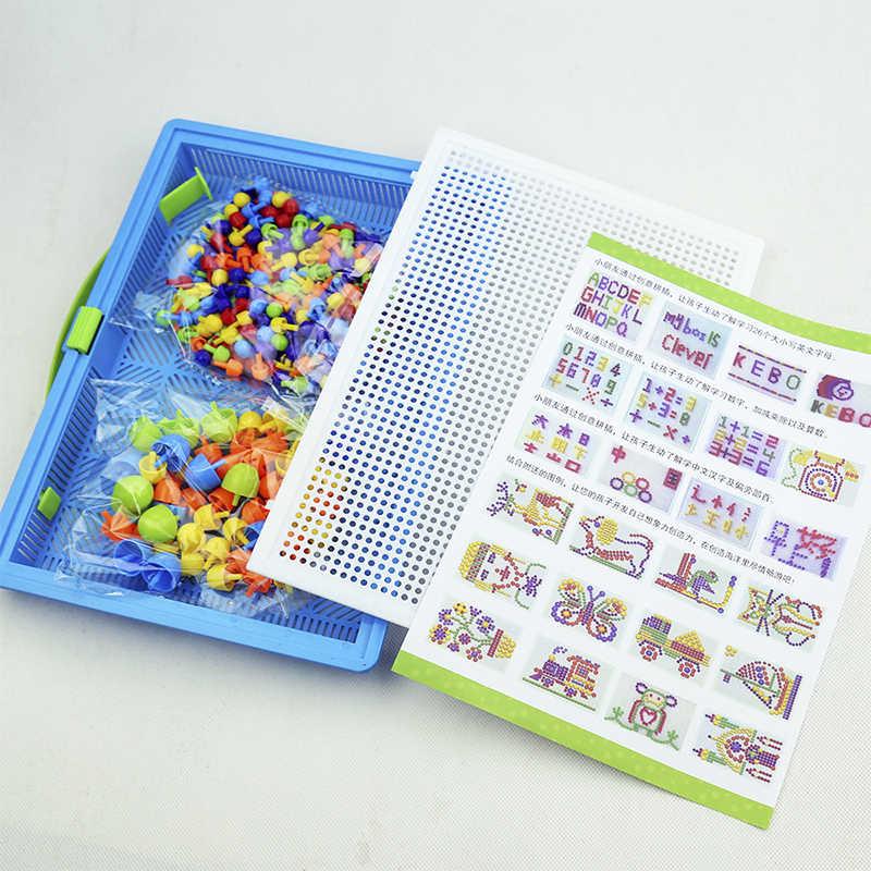 296 قطعة مسمار الفطر لتقوم بها بنفسك اليدوية لعب الأطفال التعليمية للأطفال ذكي ثلاثية الأبعاد لعبة اللغز بانوراما المجلس الهدايا