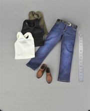 CEN-M08 1/6 Male's Vest Jeans Pants Leather Shoes Set Models For 12'' Strong Muscle Body Green White Black