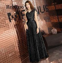 2019 new long wine red back V-neck sequins shiny elegant dress