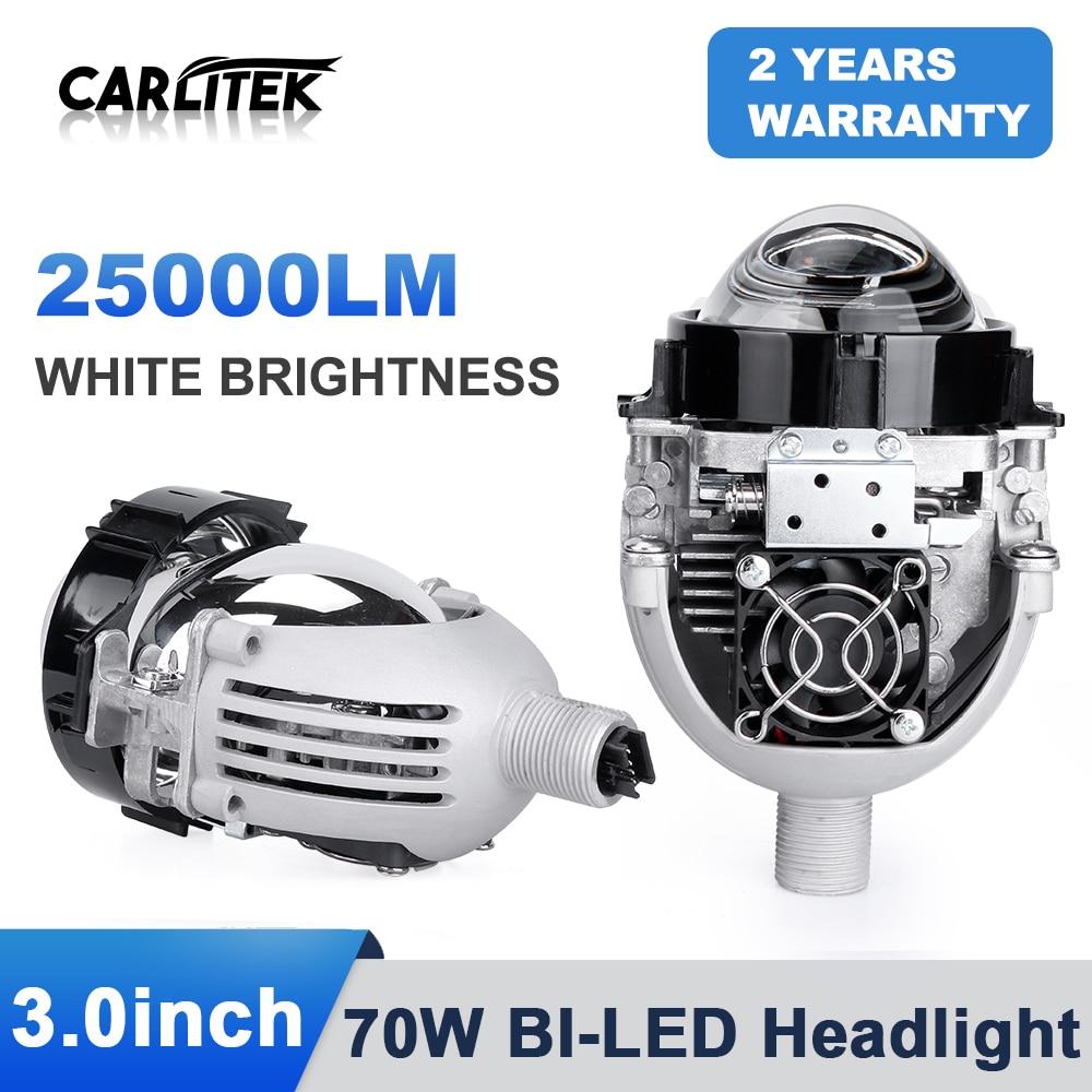 Carlitek-lente de haz Hi/Lo para faro delantero de coche, lámparas LED H1, 9005, HB3, 9006, HB4, H7, H4, DIY, LED, KQ, 2 uds.