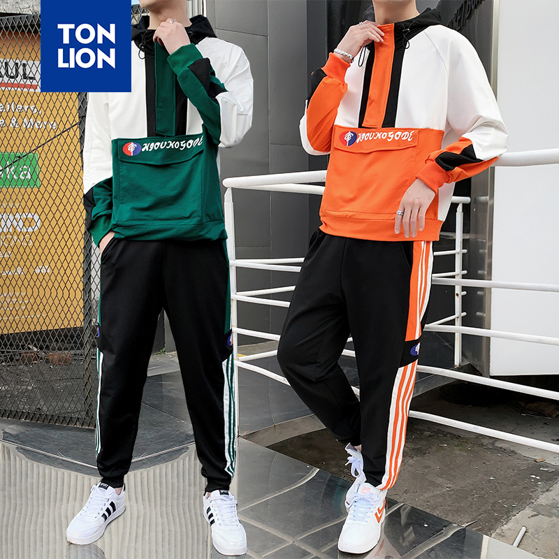 TONLION 2 Pcs/Sets Youth Fashion Mens Clothing Casual Hooded Pullovers Jacket And Elastic Pants With Side Stripe Tracksuit 2020