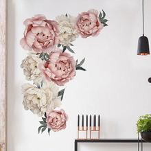 60x90cmnew PVC Waterproof DIY Large Peony Flowers Removable Wall Stickers Home Decor Mould Proof