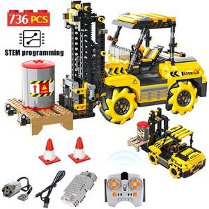 APP Remote Control Excavator Engineering Car Building Blocks City Technic RC Forklift Vehicle Creator Bricks Toys For Children