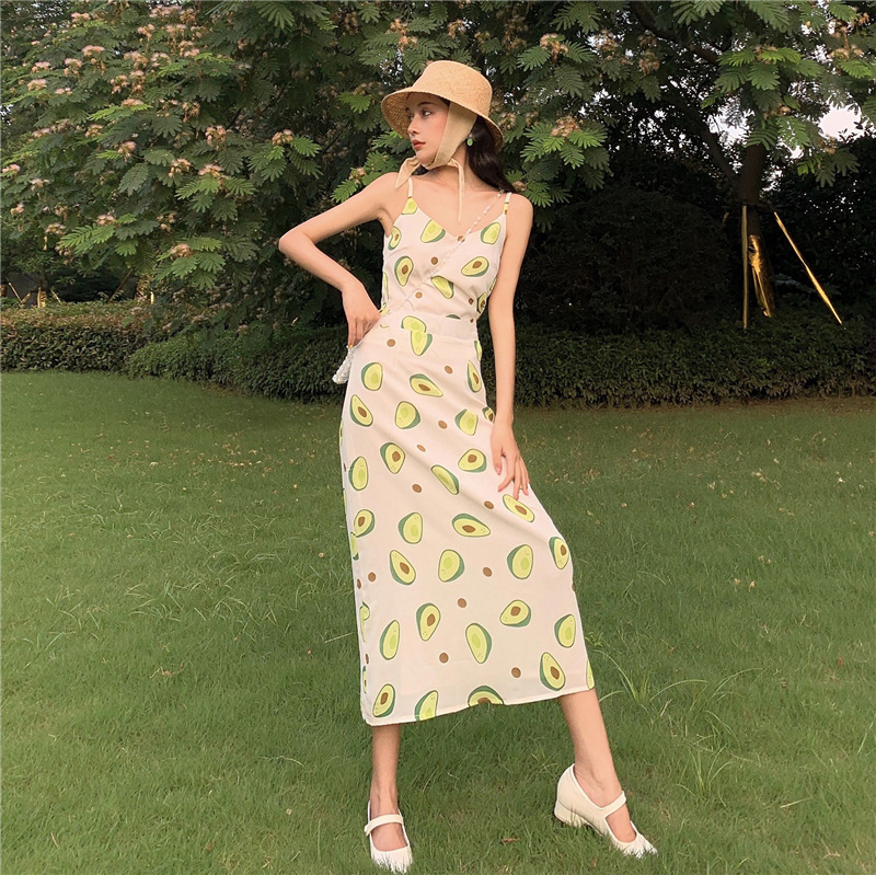 Set 2019 Summer New Products Hong Kong Style Fashion Top Shirt With Narrow Straps + WOMEN'S Dress Printed Longuette Two-Piece Se
