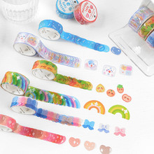 100PCS Kawaii Candy Scrapbooking Sticker Washi Tape Rainbow Bow Journal DIY Material Tape Stationery Supplies Diary Decorative