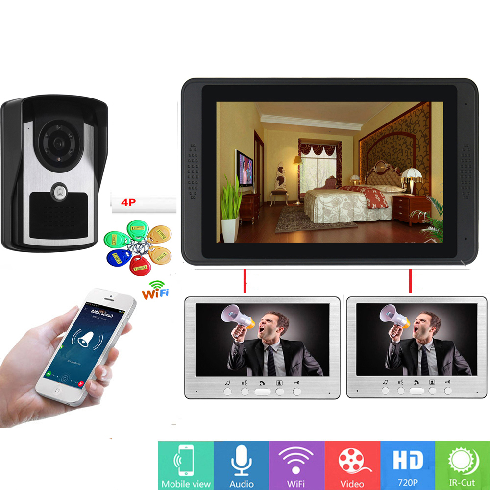 SmartYIBA RFID Visual Intercom 7 Inch LCD Wifi Wireless Video Door Phone Doorbell Speakephone Intercom System 1 Camera 3 Monitor