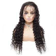 цена на 13x4 Deep Wave Lace Front Human Hair Wigs 150% Density Remy Indian Lace Wig with Baby Hair For Women Glueless Natural Color