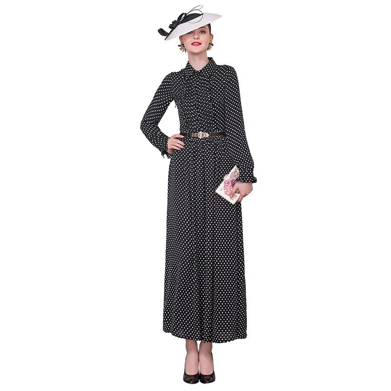 Automne mousseline de soie de luxe imprimé points longue robe bureau dame robe de bal robe de soirée vêtements cheville-longueur DZ3013