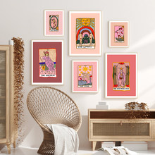 Skandynawski abstrakcyjny gwiazdy Tarot obrazy na ścianę obraz na płótnie słońce cesarzowa kapłanka plakaty z nadrukami salon Home Decor