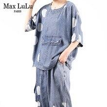 Max LuLu-trajes de diseño coreano para mujer, conjunto de dos piezas de punto vaquero, Tops de manga corta y pantalones de retazos, talla grande, verano 2021