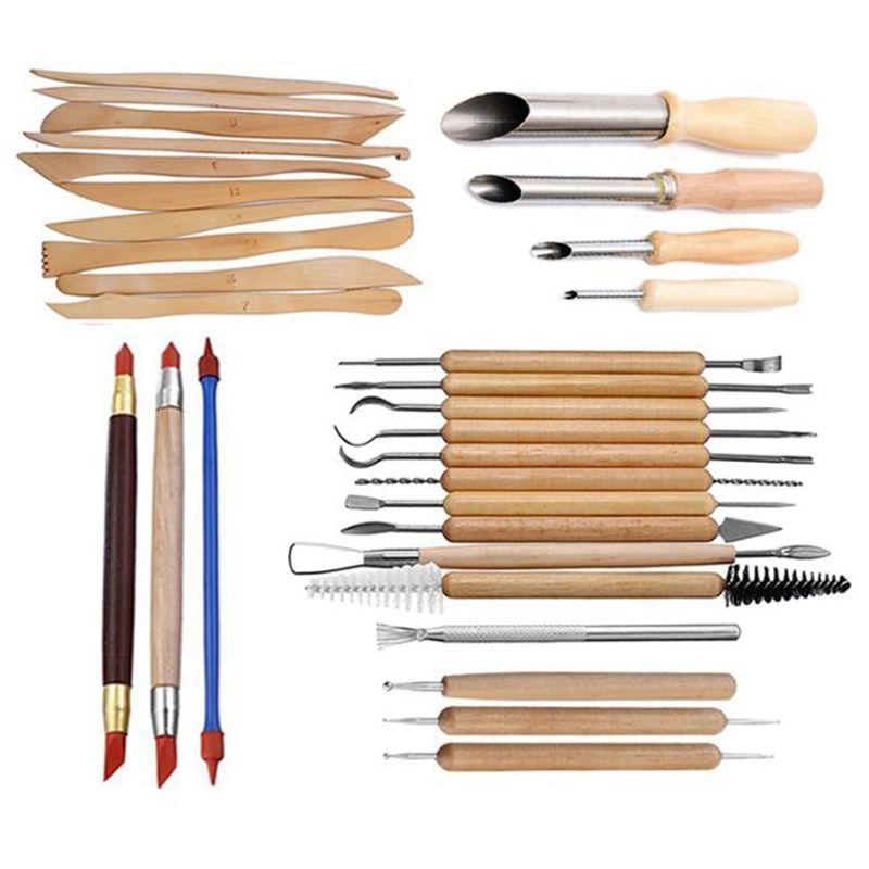 31 Pcs Arts Crafts Clay Sculpting Tools Pottery Carving Tool Set Pottery &Amp Ceramics Wooden Handle Modeling Clay Tools
