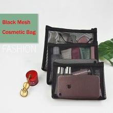 Saco cosmético portátil preto transparente malha armazenamento bolsa organizador de viagem saco de higiene pessoal zíper cosméticos organizador saco de maquiagem