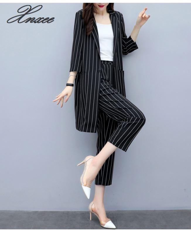 2019 Autumn New Korean Version Was Thin Large Size Striped Suit Jacket Pants Two-piece Fashion Nine Pants Suit Women Xnxee