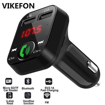 Car Bluetooth 5.0 FM Transmitter Wireless Adapter Mic Audio Receiver Auto MP3 Player 2.1A Dual USB Fast Charger Car Accessories 1