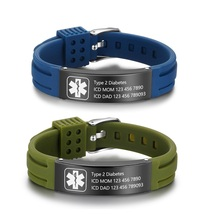 Free Engrave Personalized Customize Silicone Medical Alert ID Bracelet for Women Men Adjustable Emergency Diabetes Wristband