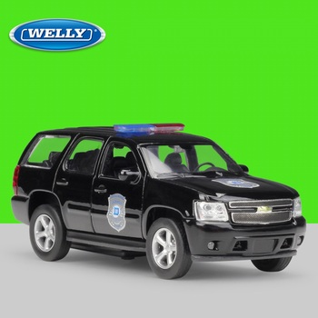 Welly 1:36 Diecast 2008 Tahoe Police SUV High Simulator Alloy Metal Model Car Pull Back Vehicle image