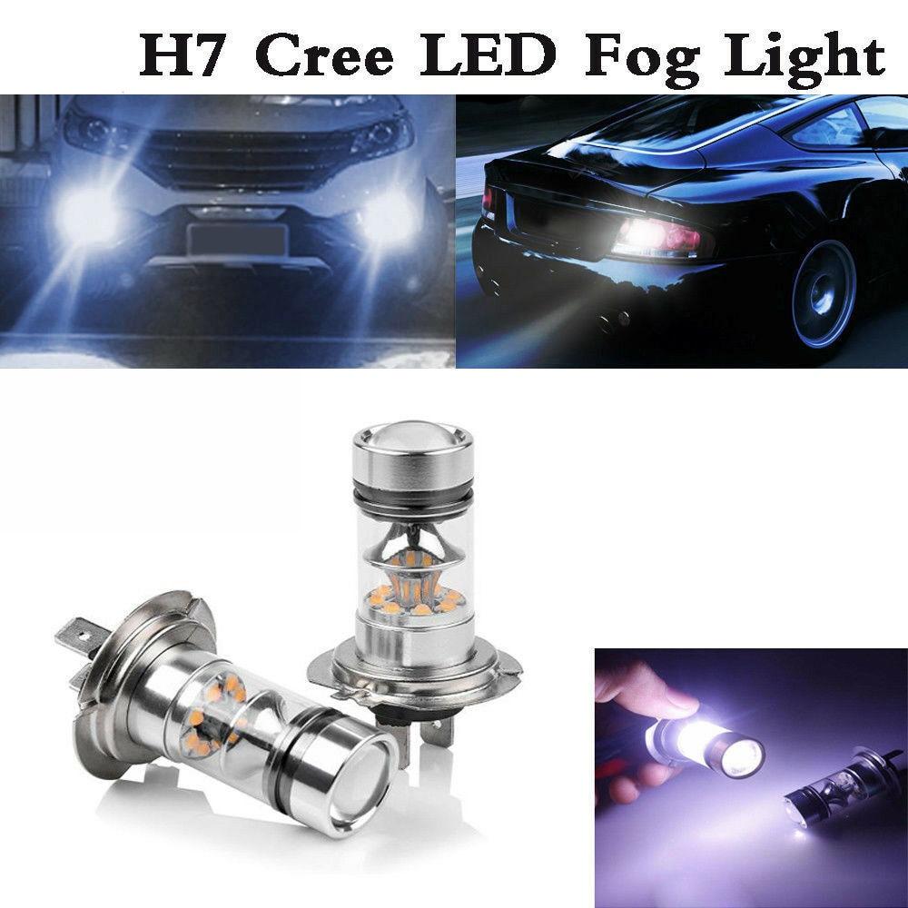Metal Shell H3 100W LED Pure White Fog Headlight Lamp SMD Auto Car Bulb 6000K