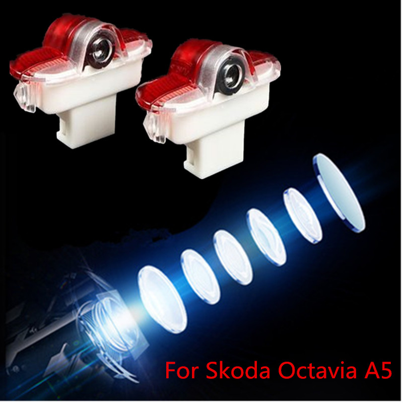 2pcs LED Car Logo Door Welcome Light For Skoda Octavia A5 2007 -2013 Ghost Shado  Projector Lamp Car Styling
