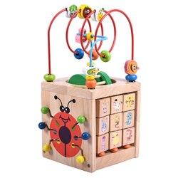 Multifunctionele 6 In 1 Houten Math Rond Kraal Doolhof Letters Erkenning Abacus Klok Leren Educatief Speelgoed Voor Voorschoolse ki