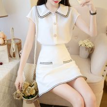 New Summer Women Office Elegant 2 Piece Sets Single Breasted Short Sleeve Chic