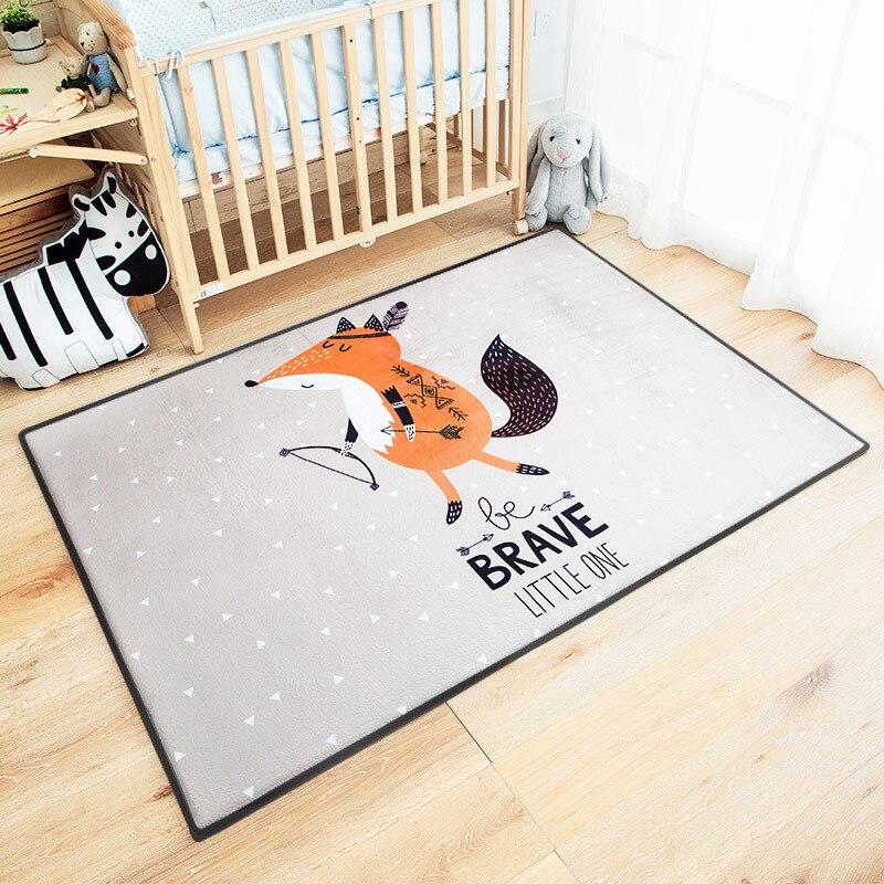 Cartoon Home Decor Area Rug Kids Room Fox Mats Children Baby Crawling Play Mat Super Soft Rebond Parlor Living Room Rug Carpets