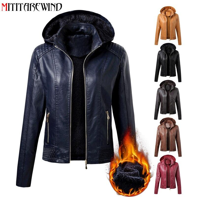 2021 nuovo arrivo autunno inverno PU cappotto in pelle moda donna collo con cappuccio in velluto mantenere caldo giacca in pelle da donna corta S-XL 1