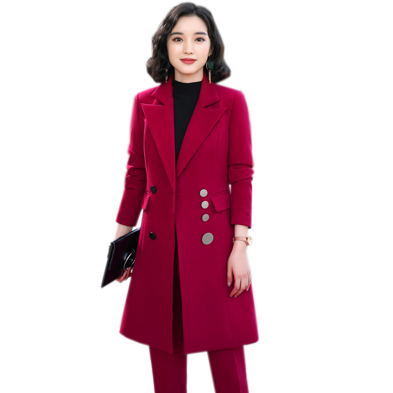 2019 High Quality Elegant Women Pant Suits Large Size Long Blazer And Pant 2 Pieces Sets Suit Green Red Black For Office Lady