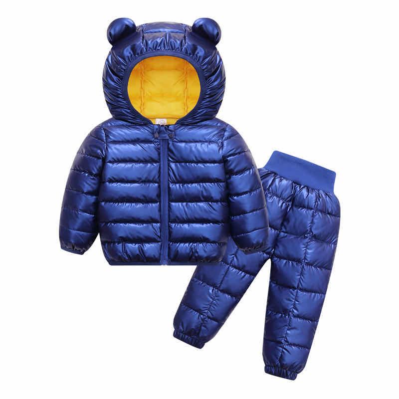 Toddler Winter Baby Girls Boys Clothing Sets Warm Faux Down Jacket Clothes Sets Children Kids Snowsuit Coats Vest Pants Overalls 1