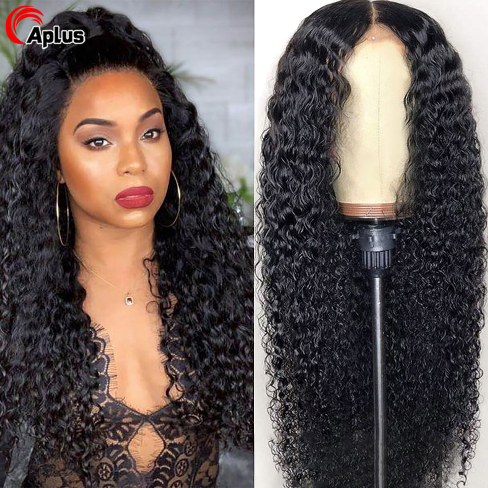 Kinky Curly Wig Glueless 360 Lace Frontal Wig 30 Inch Long 13x6 Transparent Lace Front Human Hair Wigs Peruvian Hair Middle Part