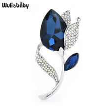 Wuli&baby Big Crystal Water-Drop Tulip Brooches Pins Women Valentine's Day 2021 Fashion Jewelry Gift