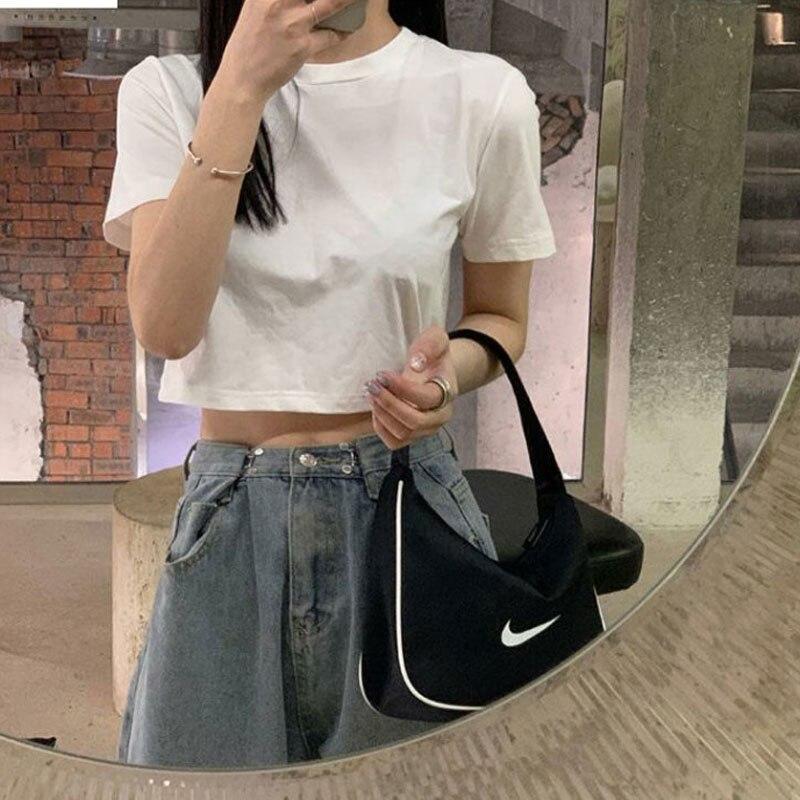 INS твердой Цвет футболка с короткими рукавами для женщин, в Корейском стиле; Сезон лето Стиль модный студент высокая талия живот обнажая
