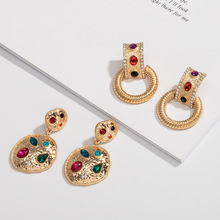 temperament baroque  metal earrings Joker long exaggerated fashion personality women trendy