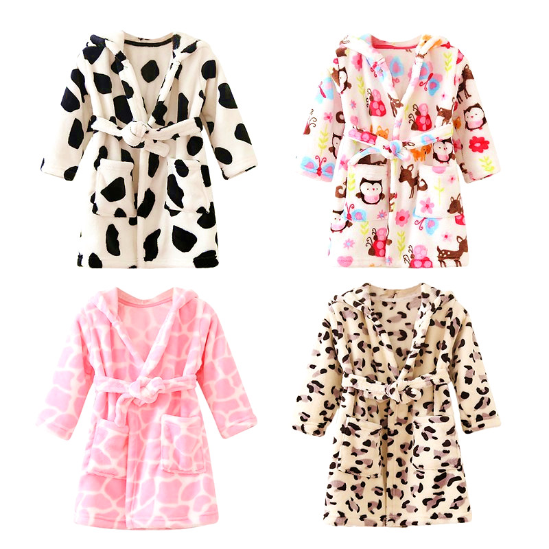 Baby Boys Girls Clothes Flannel Bathrobes Kimono Winter Lovely Animal Warm Hooded Robes Pyjamas Leopard Nightgown With Waistband