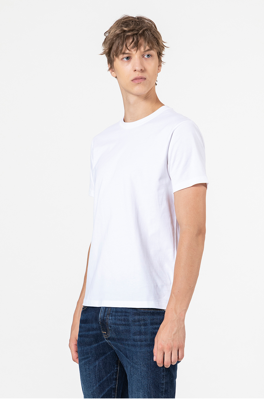 2020 summer new 100% cotton white solid T-shirt