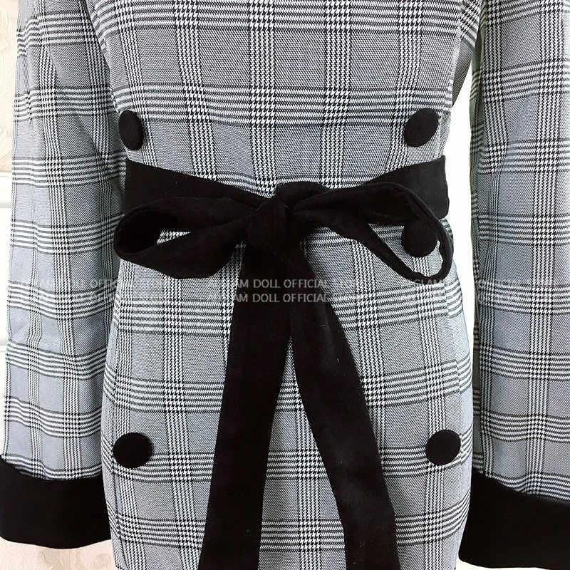 Kış çentikli kruvaze OL ofis kadın elbisesi ekose Mini Bodycon tam kollu iş elbiseleri