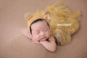 Image 2 - Dvotinst新生児の写真の小道具ベビー花柄ヘッドバンドボンネットかわいいanimial人形fotografia accessorioスタジオ撮影写真の小道具